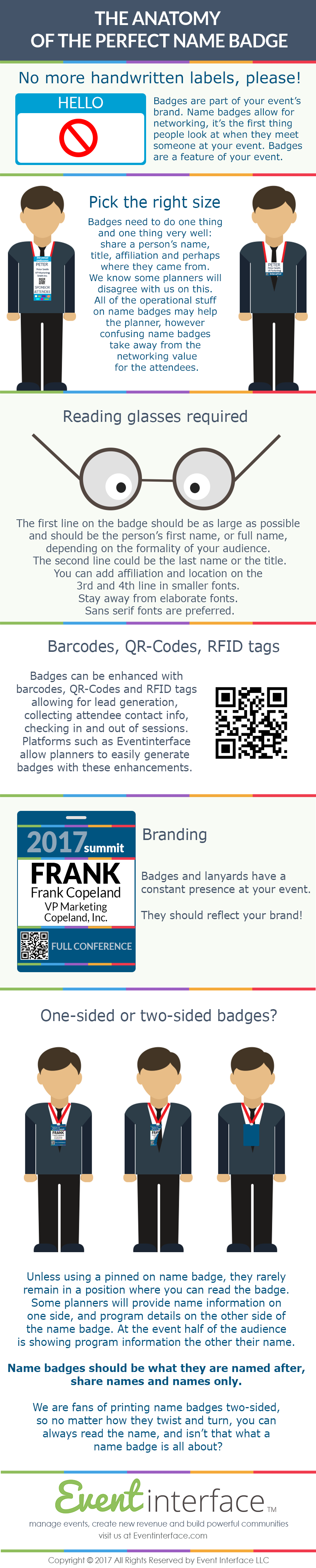 The anatomy of the perfect conference name badge. Top Tips at Eventinterface infographic